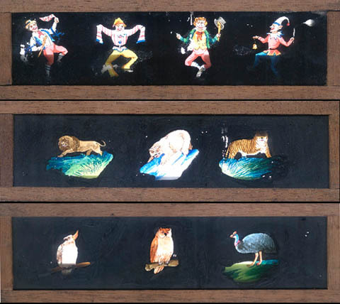 FIFTEEN HAND-COLOURED LANTERN SLIDES, ANIMALS, BIRDS, CLOWNS. Coloured Lantern Slides.