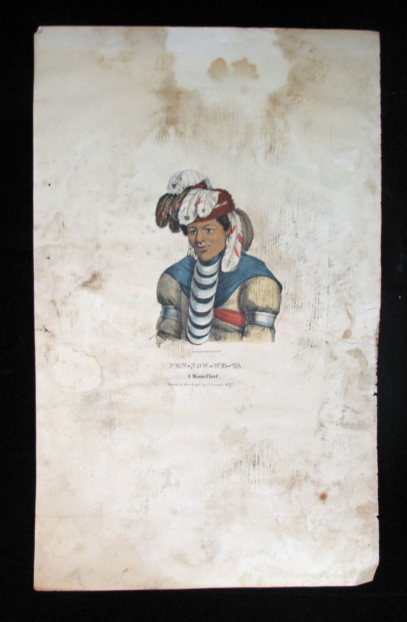 [Plate] PEN-NOW-WE-TA, A Miami Chief [From Aboriginal Portfolio: A Collection of Portraits of the Most Celebrated Chiefs of the North American Indians. Native Americans, James Otto Lewis.