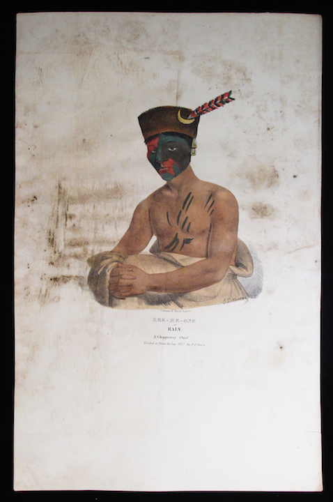 [Plate] KEE-ME-ONE or Rain. A Chippeway Chief : A Collection of Portraits of the Most Celebrated Chiefs of the North American Indians. Native Americans, James Otto Lewis.