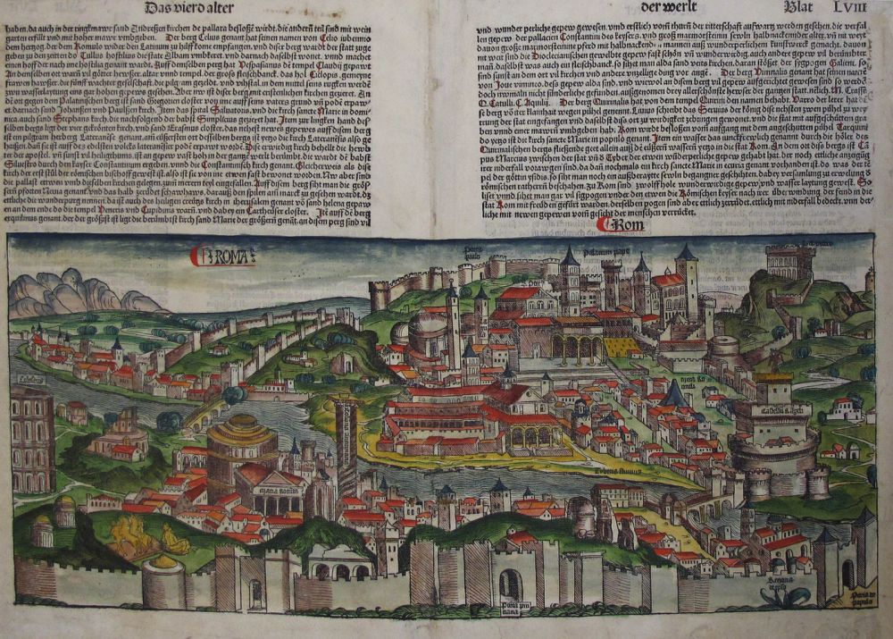 A SINGLE HAND-COLOURED BIFOLIUM FROM THE FAMED NUREMBERG CHRONICLE, showing the full view of ROME, Leaves LVII and LVIII. Incunabula, Nuremberg Chronicle, Rome, Roma, Hartmann Schedel.