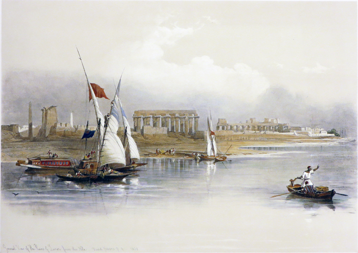 GENERAL VIEW OF THE RUINS OF LUXOR FROM THE NILE [An Original Hand-Coloured Lithograph From] THE HOLY LAND, SYRIA, IDUMEA, ARABIA, EGYPT AND NUBIA. David Roberts, Middle East Egypt.
