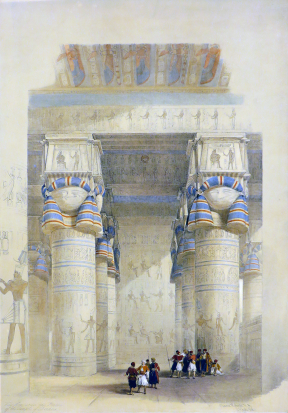 VIEW FROM UNDER THE PORTICO OF THE TEMPLE OF DENDERA [An Original Hand-Coloured Lithograph From] THE HOLY LAND, SYRIA, IDUMEA, ARABIA, EGYPT AND NUBIA. David Roberts, Middle East Egypt.