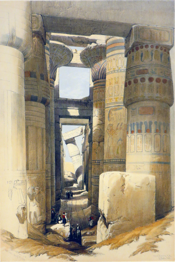 KARNAC [a View Looking Across the Hall of Columns, being an Original Hand-Coloured Lithograph From] THE HOLY LAND, SYRIA, IDUMEA, ARABIA, EGYPT AND NUBIA. David Roberts, Egypt.