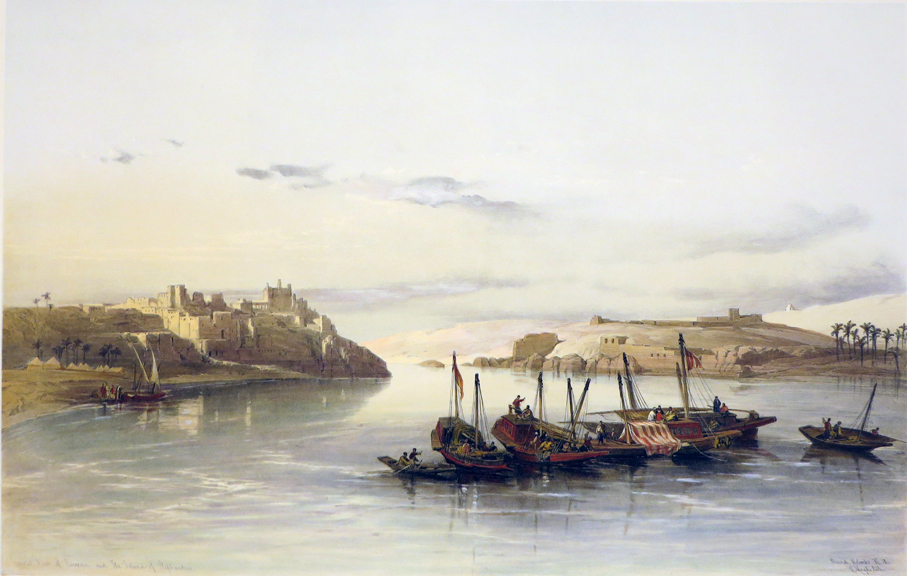 General View of Esouan and the Island of Elephantine [Being an Original Hand-Coloured Lithograph From] THE HOLY LAND, SYRIA, IDUMEA, ARABIA, EGYPT AND NUBIA. David Roberts, Egypt Nubia.