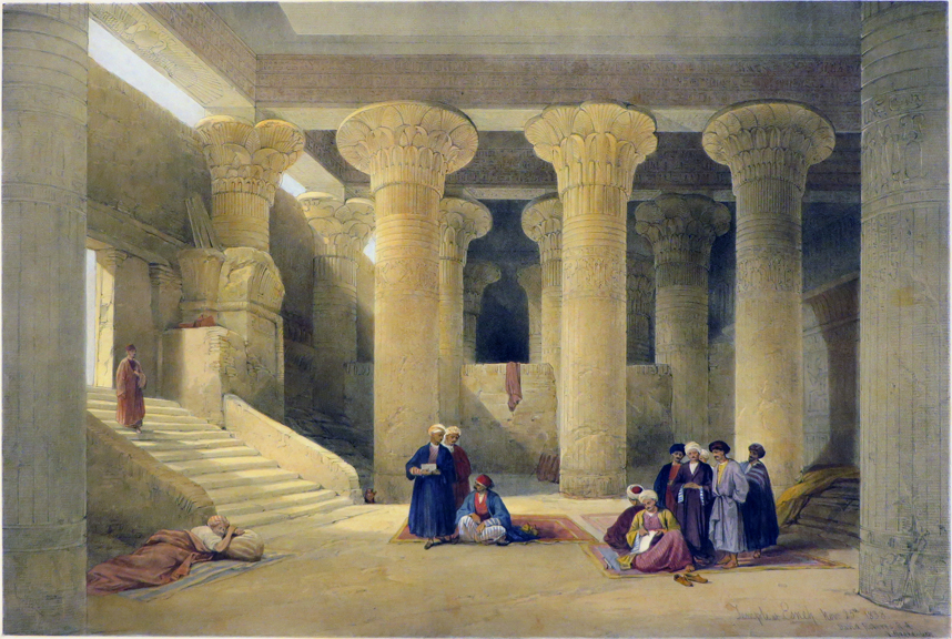 TEMPLE OF ESNEH [Being an Original Hand-Coloured Lithograph From] THE HOLY LAND, SYRIA, IDUMEA, ARABIA, EGYPT AND NUBIA. David Roberts, Egypt.