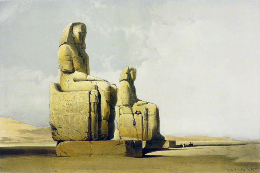 THEBES [Showing the Colossi of Amunophis III, Being an Original Hand-Coloured Lithograph From] THE HOLY LAND, SYRIA, IDUMEA, ARABIA, EGYPT AND NUBIA. David Roberts, Egypt.