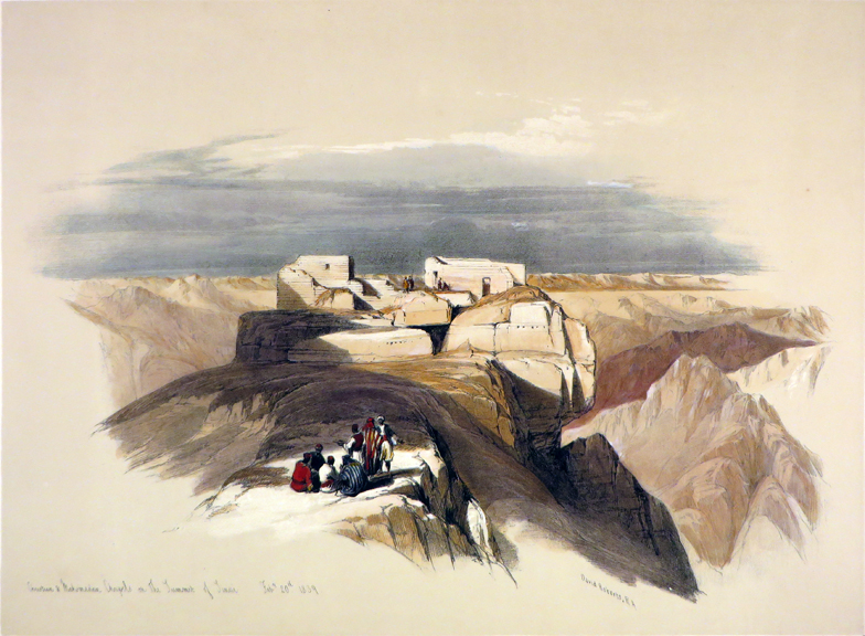 Christian and Mahometan Chapels on the summit of Mt. Sinai [An Original Hand-Coloured Lithograph From] THE HOLY LAND, SYRIA, IDUMEA, ARABIA, EGYPT AND NUBIA. David Roberts, Egypt.