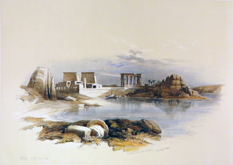 PHILAE [Showing the Temple of Isis, Being an Original Hand-Coloured Lithograph From] THE HOLY LAND, SYRIA, IDUMEA, ARABIA, EGYPT AND NUBIA. David Roberts, Egypt.