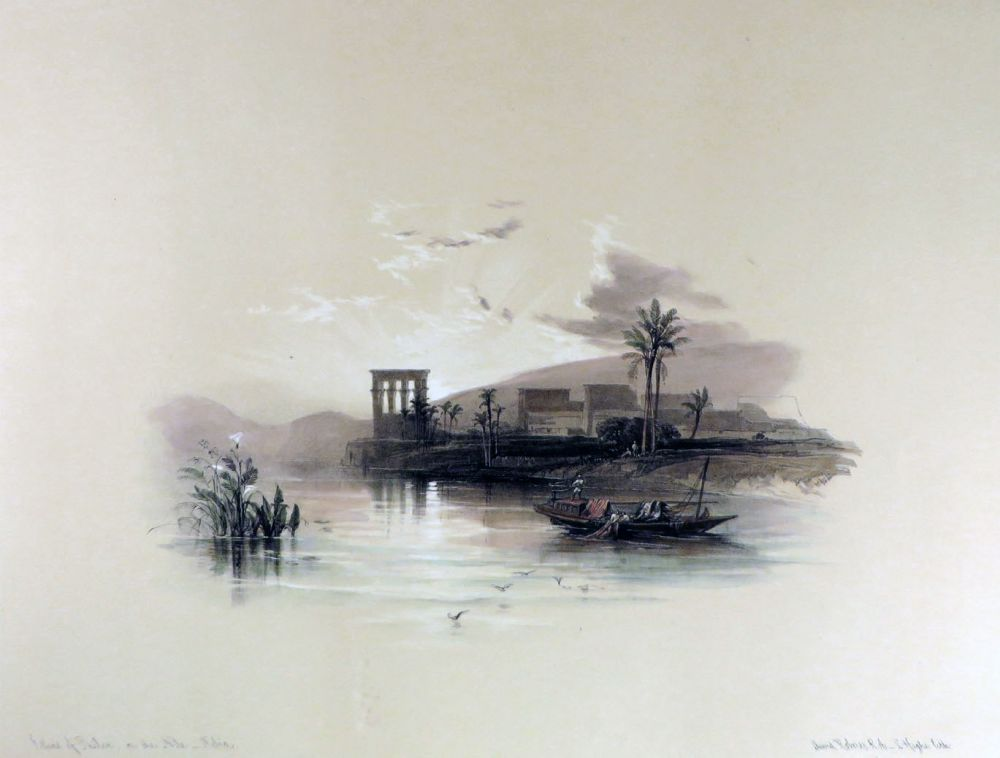 Island of PHILAE on the nile [Showing the Temple Compound at Sunset, Being an Original Hand-Coloured Lithograph From] THE HOLY LAND, SYRIA, IDUMEA, ARABIA, EGYPT AND NUBIA. David Roberts, Egypt.
