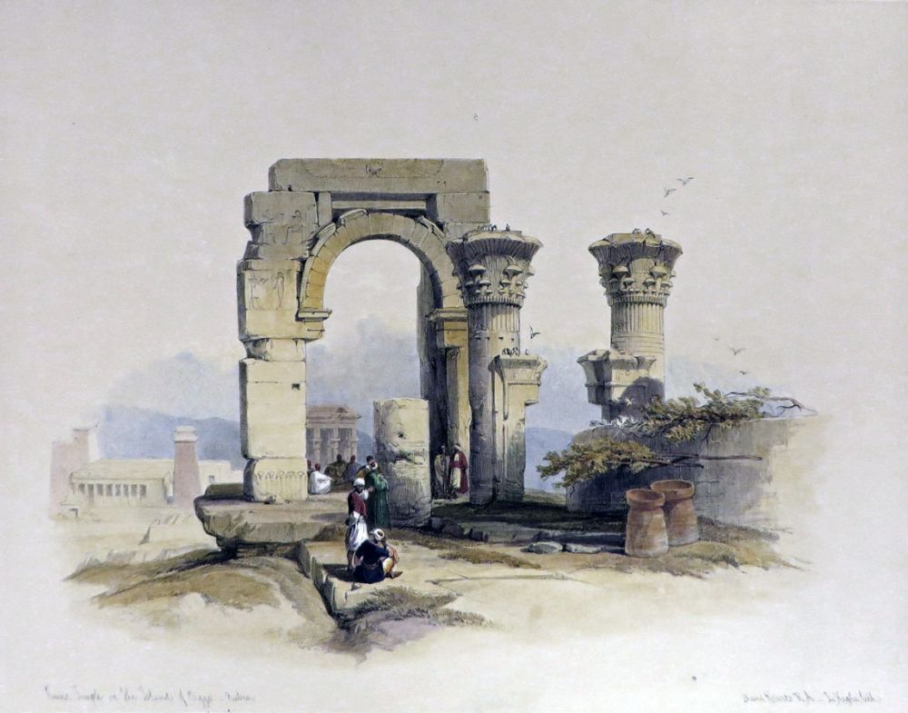 RUINED TEMPLE ON THE ISLAND OF BIGGE, NUBIA [Being an Original Hand-Coloured Lithograph From] THE HOLY LAND, SYRIA, IDUMEA, ARABIA, EGYPT AND NUBIA. David Roberts, Egypt.