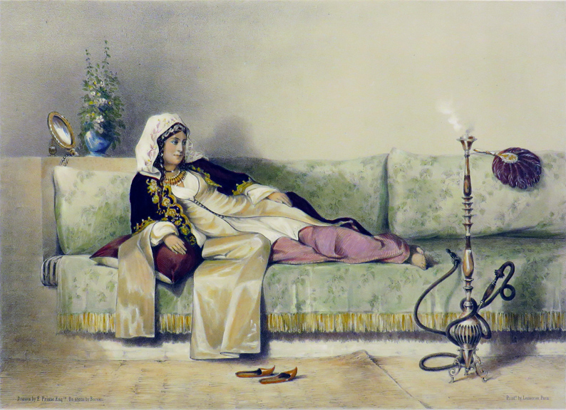 """""""Egyptian Woman in a Harem in Cairo"""" [A single Lithographic Print from ORIENTAL ALBUM, Characters, Costumes and Mode of Life, in the Valley of the Nile]. Print, Prisse d'Avennes."""