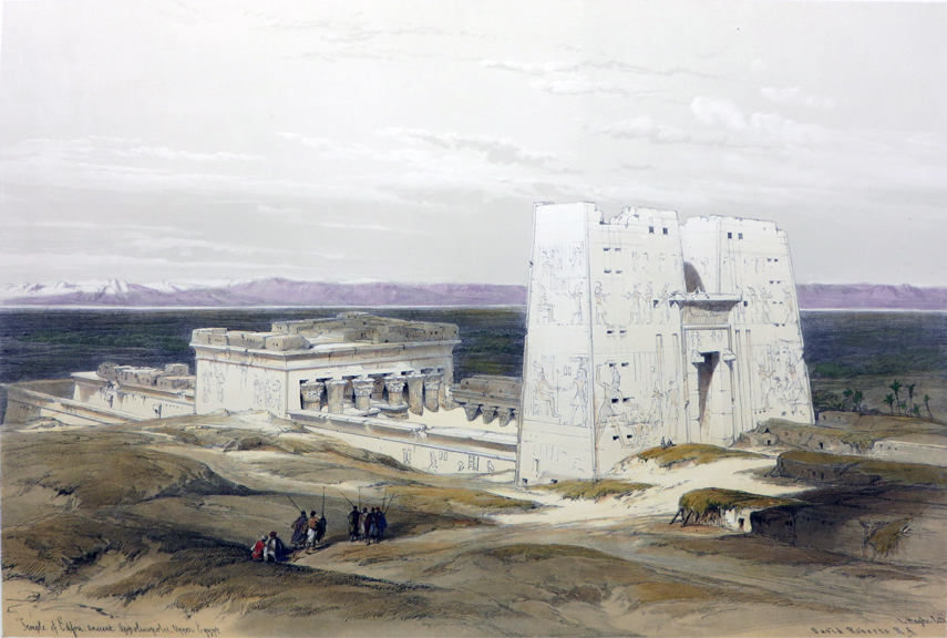 TEMPLE OF EDFOU, ANCIENT APPOLINOPOLOS. UPPER EGYPT [A Wide Complete View of the Temple, Being an Original Hand-Coloured Lithograph From] THE HOLY LAND, SYRIA, IDUMEA, ARABIA, EGYPT AND NUBIA. David Roberts, Egypt.