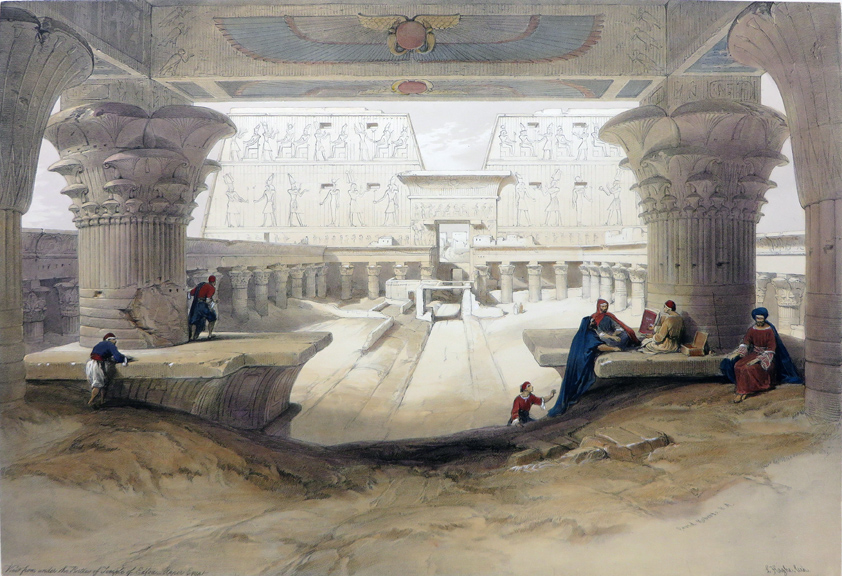VIEW FROM UNDER THE PORTICO OF TEMPLE OF EDFOU. UPPER EGYPT [An Excellent View of the Temple's Famous Inscriptions, with People in the Foreground; Being an Original Hand-Coloured Lithograph From] THE HOLY LAND, SYRIA, IDUMEA, ARABIA, EGYPT AND NUBIA. David Roberts, Egypt.