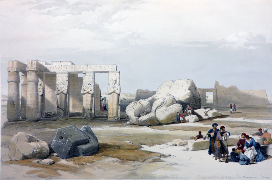 FRAGMENTS OF THE GREAT COLOSSI AT THE MEMNONIUM [An Excellent View of the Ramesseum; Being an Original Hand-Coloured Lithograph From] THE HOLY LAND, SYRIA, IDUMEA, ARABIA, EGYPT AND NUBIA. David Roberts, Egypt.
