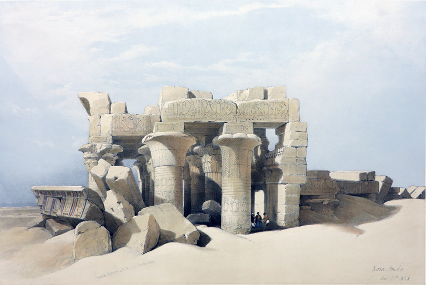 RUINS OF KOM OMBO [Being an Original Hand-Coloured Lithograph From] THE HOLY LAND, SYRIA, IDUMEA, ARABIA, EGYPT AND NUBIA. David Roberts, Egypt.