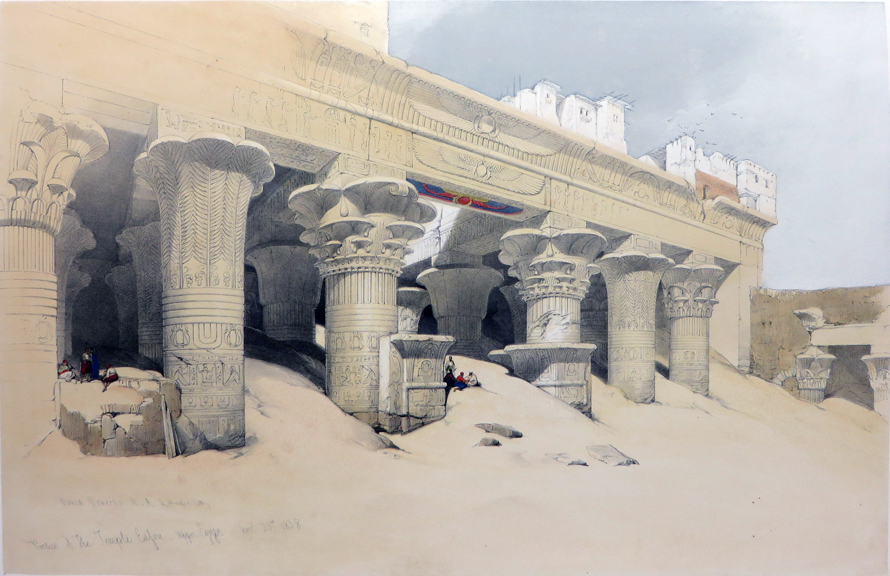 PART OF THE PORTICO OF EDFOU [An Excellent View of the Temple's Famous Northern Portico; Being an Original Hand-Coloured Lithograph From] THE HOLY LAND, SYRIA, IDUMEA, ARABIA, EGYPT AND NUBIA. David Roberts, Egypt.