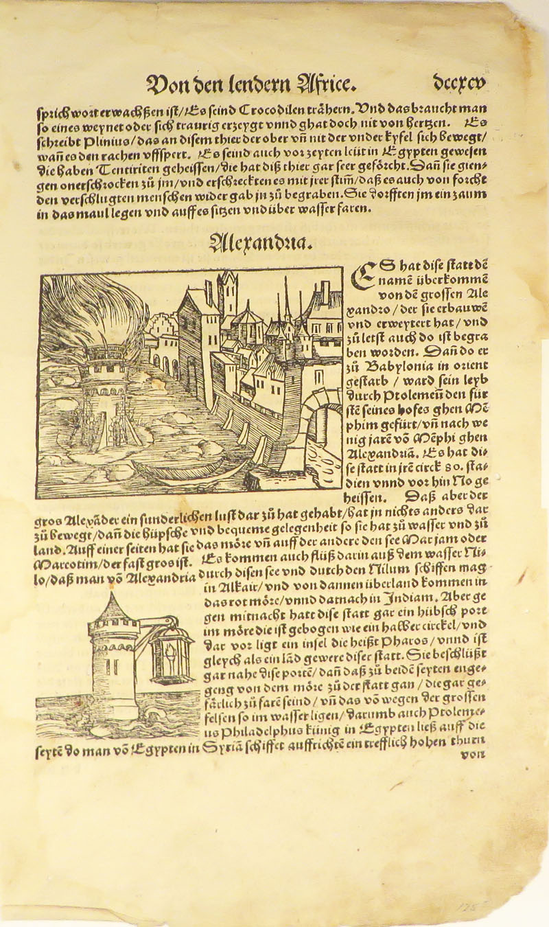 """Leaf with Woodcuts, Showing Alexandria, From an Early Edition of Sebastian Münster's """"DE LA COSMOGRAPHIE"""" Woodcuts Early Printing, Sebastian Münster."""