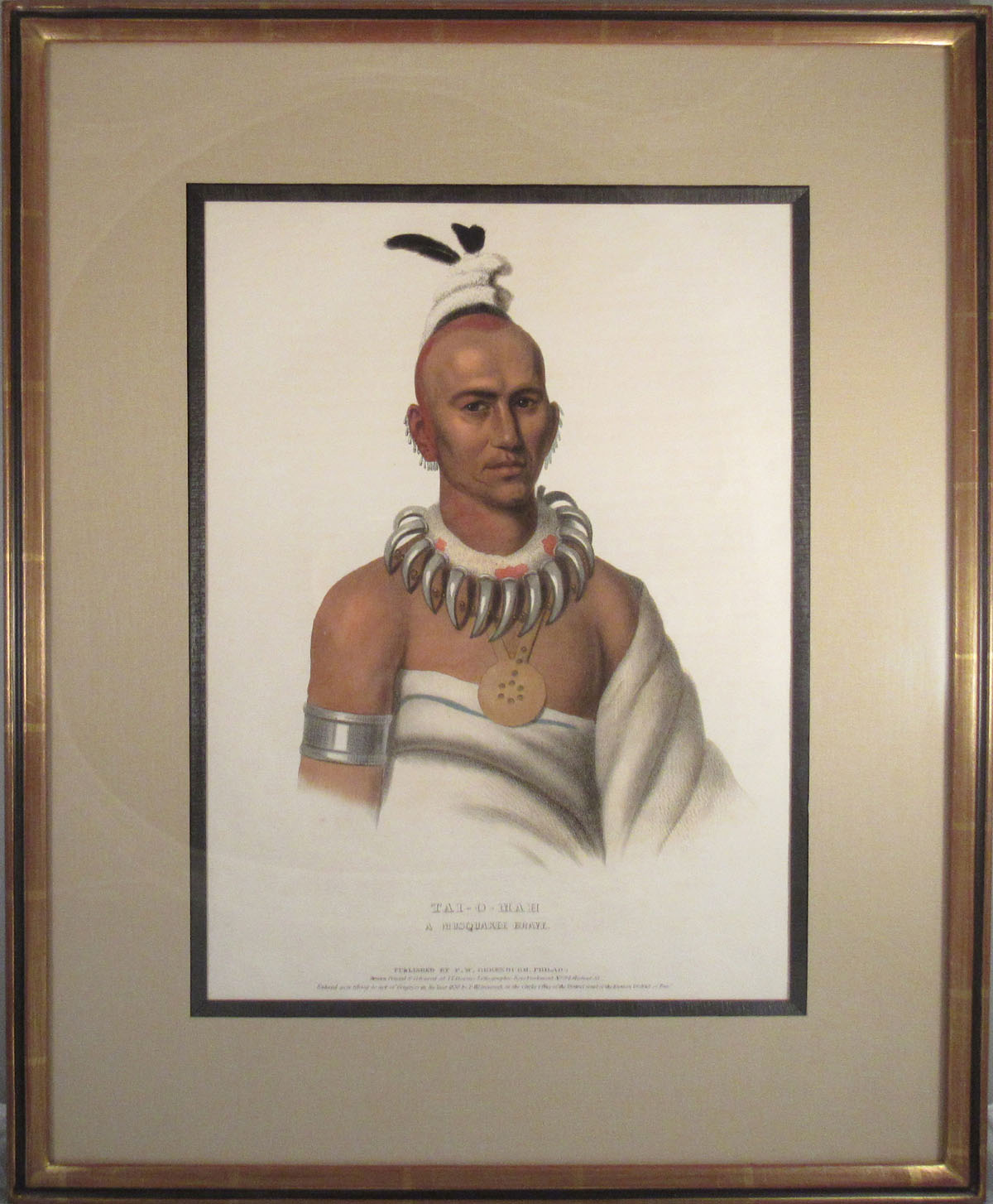 [Plate] TAI-O-MAH, A Musquakee Brave [From HISTORY OF THE INDIAN TRIBES OF NORTH AMERICA]. Native American, Thomas L. McKenney, James Hall.