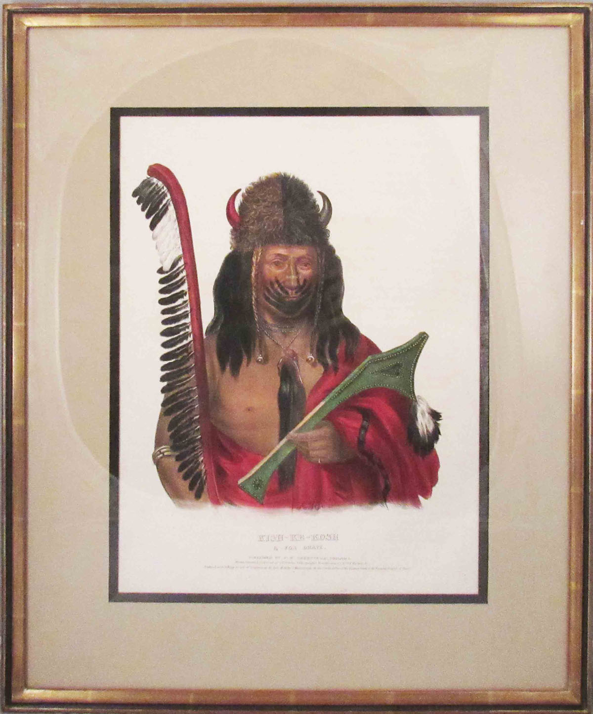 [Plate] KISH-KE-KOSH. A Fox Brave. [From HISTORY OF THE INDIAN TRIBES OF NORTH AMERICA]. Native American, Thomas L. McKenney, James Hall.