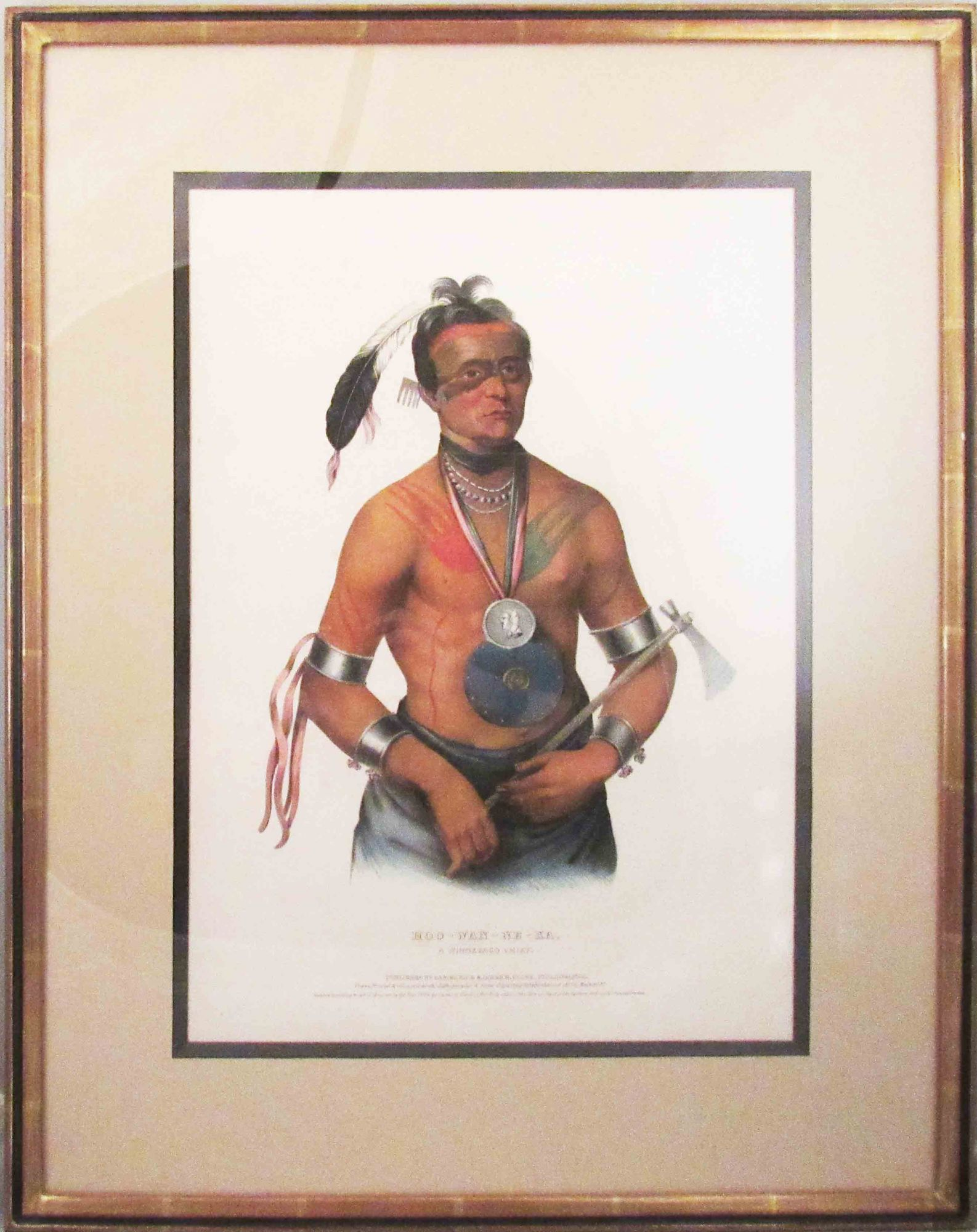 [Plate] HOO-WAN-NE-KA, A Winnebago Chief. [From HISTORY OF THE INDIAN TRIBES OF NORTH AMERICA]. Native American, Thomas L. McKenney, James Hall.