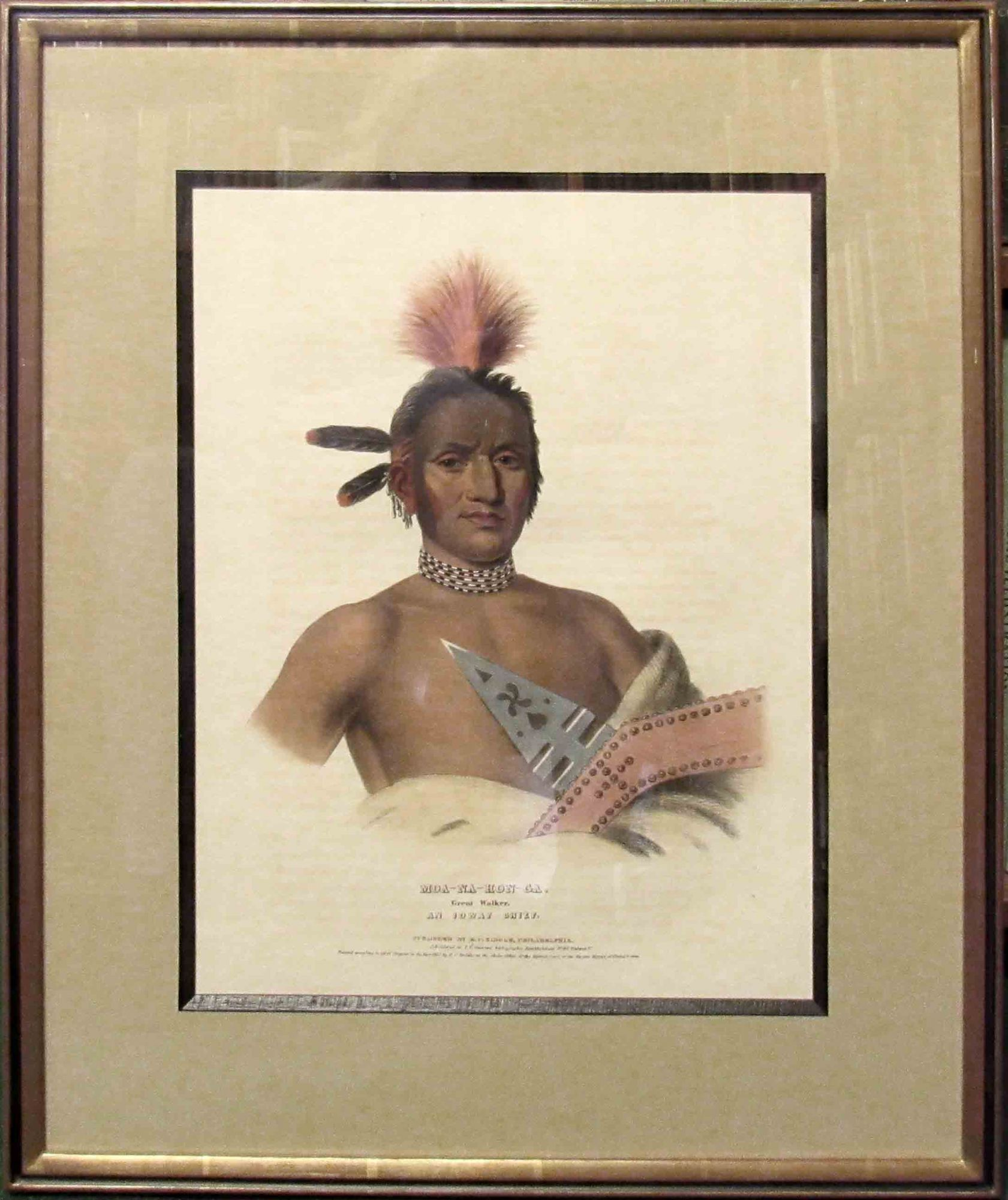 [Plate] MOA-NA-HON-GA. GREAT WALKER. An Ioway Chief. [From HISTORY OF THE INDIAN TRIBES OF NORTH AMERICA]. Native American, Thomas L. McKenney, James Hall.