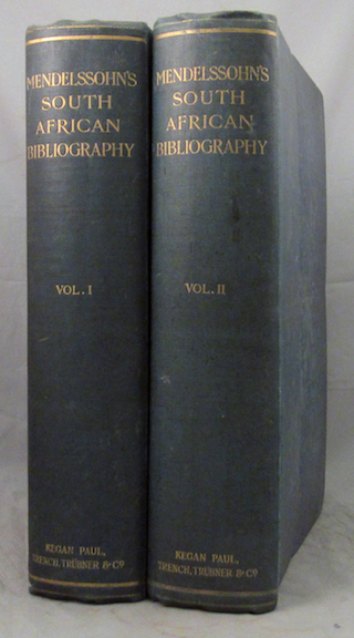 MENDELSSOHN'S SOUTH AFRICAN BIBLIOGRAPHY, Being the Catalogue Raisonné of the Mendelssohn Library of Works in relation to South Africa, including the Full Titles of the Books, with Synoptical, Biographical, Critical, and Bibliographical Notes on the Volumes and their Authors. Together with Notices of a large number of Important Works not as yet included in the Collection, based on Information gathered by the Author in the course of Researches in many Libraries, and during a Residence in South Africa extending over the greater part of a Quarter of a Century, together with a Bibliography of South African Periodical Literature, and of Articles on South African Subjects in Periodical Literature throughout the World. Also a Complete List of the British Parliamentary Blue-Books on South Africa, A Cartography of South Africa, &c., &c., &c. With a Descriptive Introduction by I.D. Colvin. Sidney Mendelssohn.
