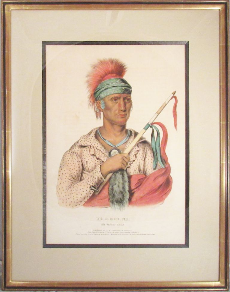 Plate] NE-O-MON-ME, An Ioway. Native American, Thomas L. McKenney, James Hall