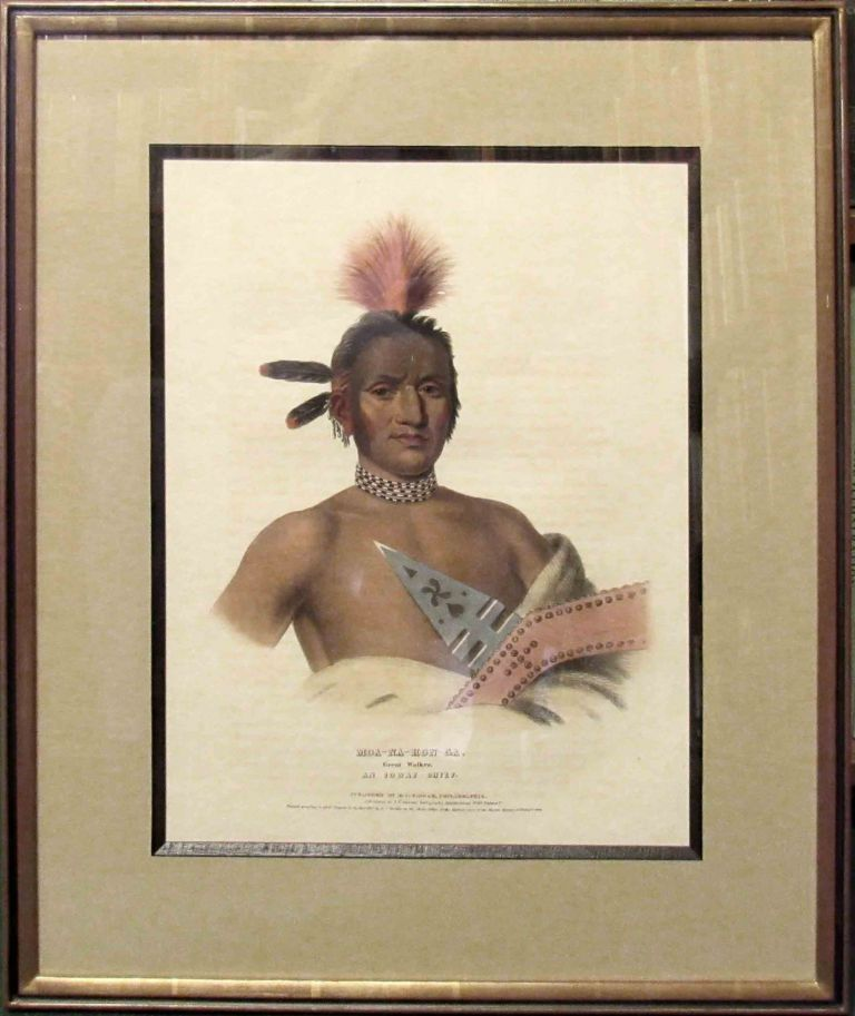 Plate] MOA-NA-HON-GA. GREAT WALKER. Native American, Thomas L. McKenney, James Hall