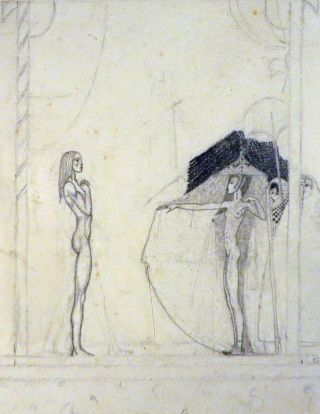 ORIGINAL SKETCH, A DRAWING OF THE STAGE SET IN A THEATRICAL PRODUCTION