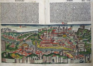 A SINGLE HAND-COLOURED BIFOLIUM FROM THE FAMED NUREMBERG CHRONICLE, showing the full view of ROME, Leaves LVII and LVIII